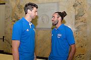 Milano 24 Luglio 2013<br /> Basket Europei Maschili 2013/2014<br /> Media Day Nazionale Italiana Pallacanestro Maschile<br /> nella foto Bargnani Datome<br /> foto Ciamillo