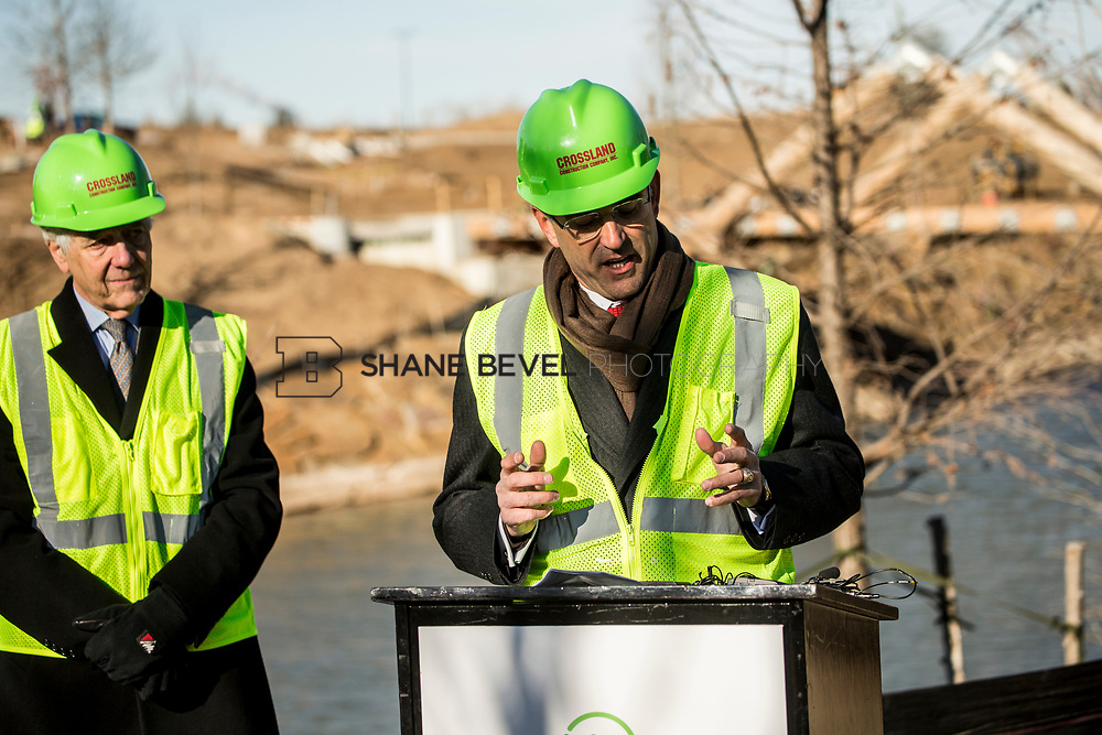 1/12/18 11:10:03 AM -- Halliburton CEO Jeff Miller and George Kaiser visit the Gathering Place for a press conference announcing Halliburton's support for the park. <br /> <br /> Photo by Shane Bevel