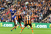 Chelsea defender Marcos Alonso (3) heads towards goal during the Premier League match between Hull City and Chelsea at the KCOM Stadium, Kingston upon Hull, England on 1 October 2016. Photo by Ian Lyall.