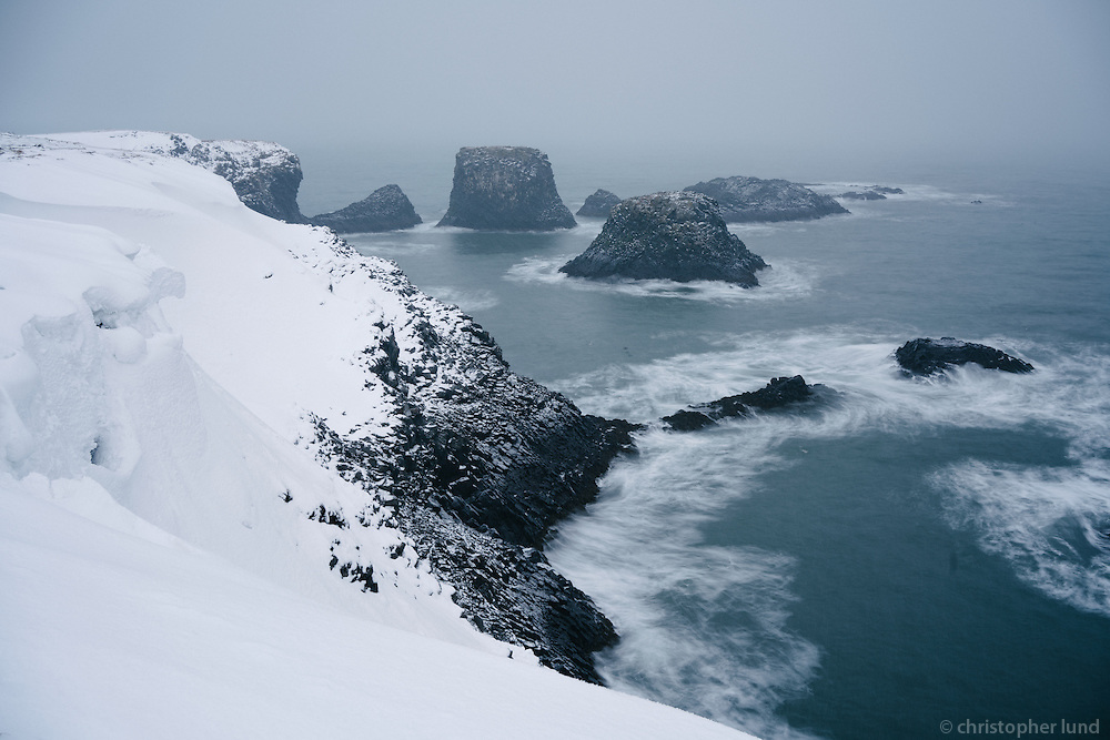 Winter scene from Arnarstapi, Snæfellsnes Peninsula, West Iceland.