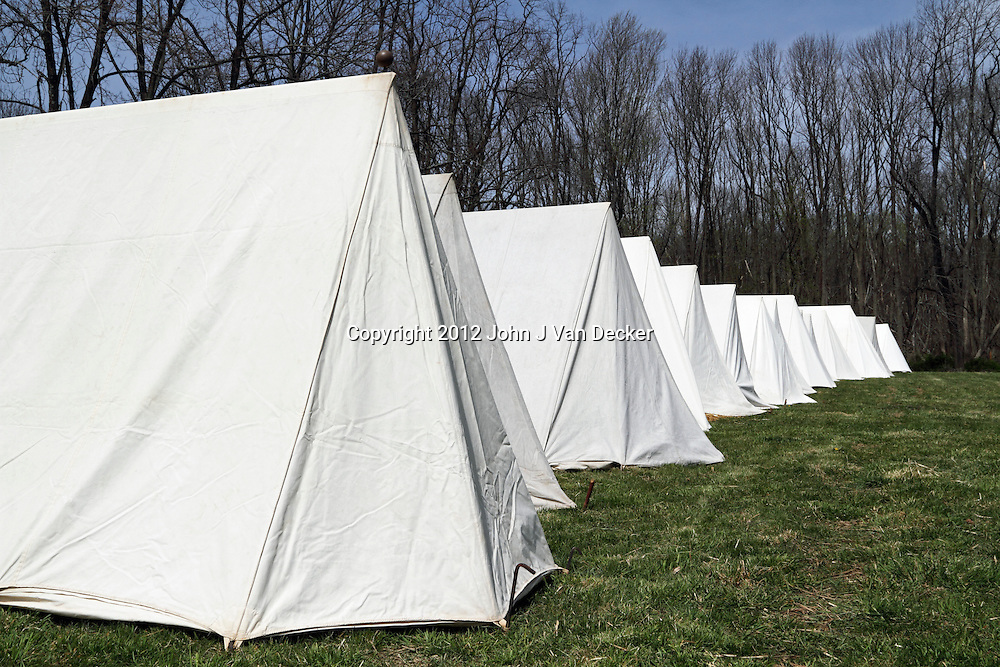 The American Revolution's Continental Army pitched tents such as these during the winters of 1789-1782 in what is known as Jockey Hollow National Park, New Jersey, USA. Tents are part of a re-enactment conducted in the park.