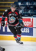 KELOWNA, CANADA - SEPTEMBER 9: Tanner Wishnowski #9 of Kelowna Rockets warms up against the Kamloops Blazers on September 9, 2016 at Prospera Place in Kelowna, British Columbia, Canada.  (Photo by Marissa Baecker/Shoot the Breeze)  *** Local Caption *** Tanner Wishnowski;