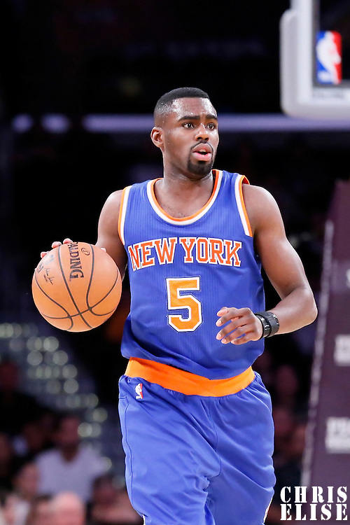 12 March 2015: New York Knicks guard Tim Hardaway Jr. (5) brings the ball up court during the New York Knicks 101-94 victory over the Los Angeles Lakers, at the Staples Center, Los Angeles, California, USA.