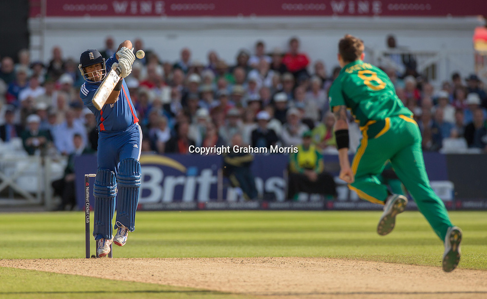 Samit Patel is caught off Dale Steyn during the fifth and final NatWest Series one day international between England and South Africa at Trent Bridge, Nottingham. Photo: Graham Morris (Tel: +44(0)20 8969 4192 Email: sales@cricketpix.com) 05/09/12