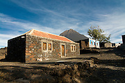 Stonehouse with vulcano in background. Fogo. Cabo Verde. Africa.