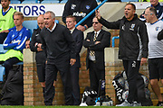Gillingham FC caretaker manager Peter Taylor (left) and Gillingham coach Steve Lovell shout instructions during the EFL Sky Bet League 1 match between Gillingham and Portsmouth at the MEMS Priestfield Stadium, Gillingham, England on 8 October 2017. Photo by Martin Cole.