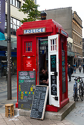 CBD Tardis Hemp Dispensary in old police box on Sauchiehall Street in Glasgow, Scotland, UK