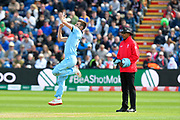 Mark Wood of England bowling during the ICC Cricket World Cup 2019 match between England and Bangladesh the Cardiff Wales Stadium at Sophia Gardens, Cardiff, Wales on 8 June 2019.