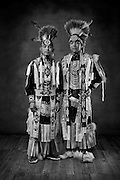 Diné brothers, Leo John, left, and Keonnie John, grass dancers from Yah-ta-hey, N.M.