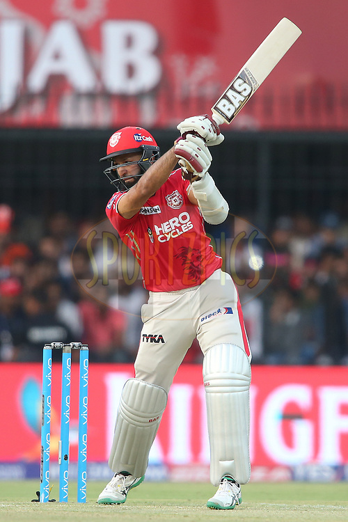 Hashim Amla of Kings XI Punjab edges a delivery behind to the boundary during match 4 of the Vivo 2017 Indian Premier League between the Kings XI Punjab and the Rising Pune Supergiant held at the Holkar Cricket Stadium in Indore, India on the 8th April 2017<br /> <br /> Photo by Shaun Roy - IPL - Sportzpics