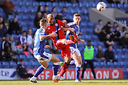 Rochdale forward Calvin Andrew wins a strong a tackle in midfieild during the EFL Sky Bet League 1 match between Chesterfield and Rochdale at the Proact stadium, Chesterfield, England on 25 March 2017. Photo by Aaron  Lupton.