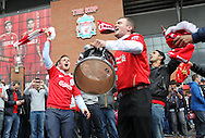 Liverpool fans prior to the Barclays Premier League match against Newcastle United at Anfield, Liverpool.<br /> Picture by Michael Sedgwick/Focus Images Ltd +44 7900 363072<br /> 11/05/2014