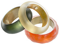 alexis bittar lucite bangle bracelets in yellow, orange and green