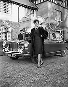 Fur Coats for McConnells..1961.10.11.1961..11.10.1961..10th November 1961..At The North Circular Road entrance to Phoenix Park, Dublin,  Adrienne Ring models fur coats for McConnells.Image shows her posing alongside an Austin Princess car.