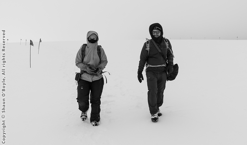 Hiking on the Marr Piedmont Glacier with Emily Farmer and Mike Lucibella