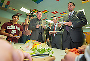 Houston ISD Superintendent Dr. Terry Grier, left, Trustee Greg Meyers, center and Acting US Secretary of Education John King, right, visit the Apollo Market at Sharpstown High School, January 15, 2016.
