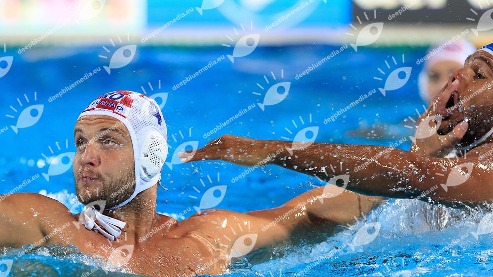 Luka Loncar of Croatia and Michael Alexandre Bodegas of Italy<br /> Croatia (white cap) -  Italy (blue cap)<br /> Quarterfinal  Round Water Polo Women<br /> Day12  25/07/2017 <br /> XVII FINA World Championships Aquatics<br /> Alfred Hajos Complex Margaret Island  <br /> Budapest Hungary <br /> Photo @Deepbluemedia/Insidefoto Photo @Marcelterbals/Deepbluemedia/Insidefoto