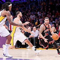 09 February 2014: Chicago Bulls point guard D.J. Augustin (14) drives past Los Angeles Lakers point guard Kendall Marshall (12) during the Chicago Bulls 92-86 victory over the Los Angeles Lakers at the Staples Center, Los Angeles, California, USA.
