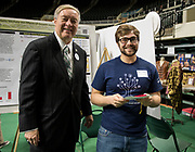 Mitchell Harberson poses for a picture with Ohio University President Duane Nellis during the 2018 Student Research Expo.