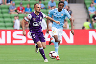 MELBOURNE, VIC - MARCH 03: Perth Glory defender Ivan Franjic (5) runs the ball downfield at the round 21 Hyundai A-League soccer match between Melbourne City FC and Perth Glory on March 03, 2019 at AAMI Park, VIC. (Photo by Speed Media/Icon Sportswire)