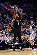 Jan 28, 2017; Phoenix, AZ, USA; Phoenix Suns guard Eric Bledsoe (2) shoots the ball against the Denver Nuggets in the second half of the NBA game at Talking Stick Resort Arena. The Nuggets won 123-112. Mandatory Credit: Jennifer Stewart-USA TODAY Sports