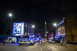 © Licensed to London News Pictures. 03/06/2017. London, UK. Police deal with an ongoing incident at London Bridge. A white van is reported to have veered off the road and hit a number of pedestrians. Photo credit: Rob Pinney/LNP