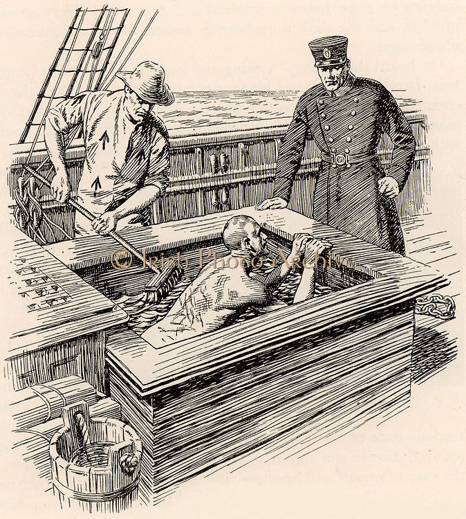 Transportation of  convicts from Britain to Australia in the 19th century. The regime on board the convict ships was harsh as were the punishments. Here a prisoner who has been flogged until his back is raw is then put into a brine (salt) bath and his back is scrubbed with a broom.