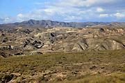 Limestone desert landscape, Paraje Natural de Karst en Yesos, Almeria, Spain