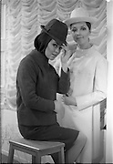 06/02/1968.02/06/1968.06 February 1968.Adrienne Ring, Ballyjamesduff, (left) wearing an all-purpose culotteoutfit of McNutt handwoven Donelgal Tweed in green twill, with matching balaclave and trilby hatand Pat Murphy 6 Vernon Grove, Rathgar, wearing a town dress and coat in Molloy's of Adara Donegal handwoven tweed, primrose colour, worn with pique bolivian styled hat, both from the Nelli Mulcahy Spring '68 Courture Collection, which will be shown at the W.I.Z.O. 'Preview to Spring' fashion show at the Gresham Hotel, Dublin on Monday next, 12th Feb. 1968.