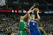 Philadelphia 76ers Dario Saric (9) shoots during the NBA London Game match between Philadelphia 76ers and Boston Celtics at the O2 Arena, London, United Kingdom on 11 January 2018. Photo by Martin Cole.