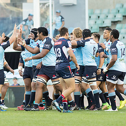 Waratahs celebrate a try during the super rugby match between Waratahs and the Rebels Allianz Stadium 21 May 2017(Photo by Mario Facchini -Steve Haag Sports)
