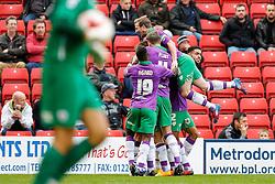 Wade Elliott jumps up as Luke Ayling of Bristol City celebrates scoring a goal to make it 0-1 - Photo mandatory by-line: Rogan Thomson/JMP - 07966 386802 - 25/10/2014 - SPORT - FOOTBALL - Barnsley, England - Oakwell Stadium - Barnsley v Bristol City - Sky Bet League 1.