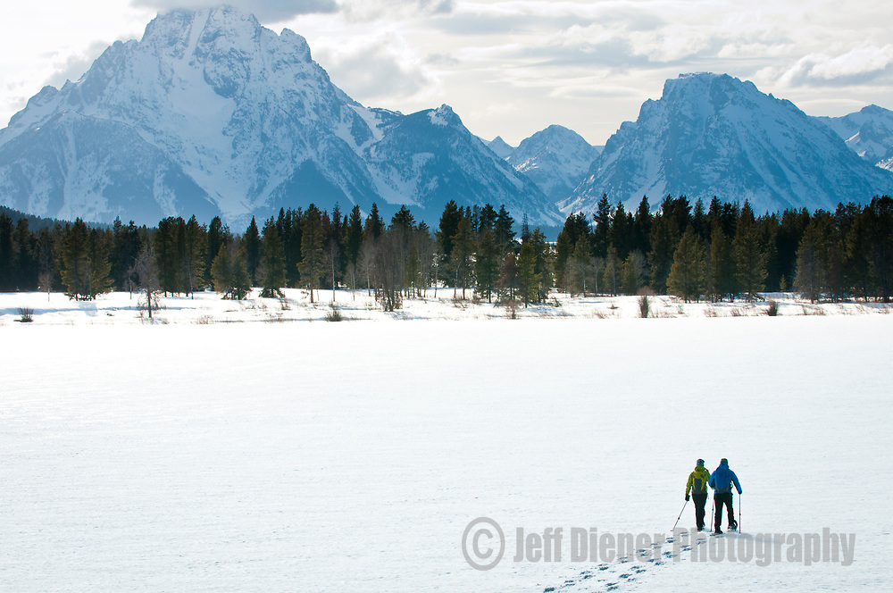 Snowshoeing in Grand Teton National Park, Jackson Hole, Wyoming.