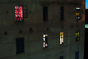 Open windows at a apartment building in Nairobi city center, kenya