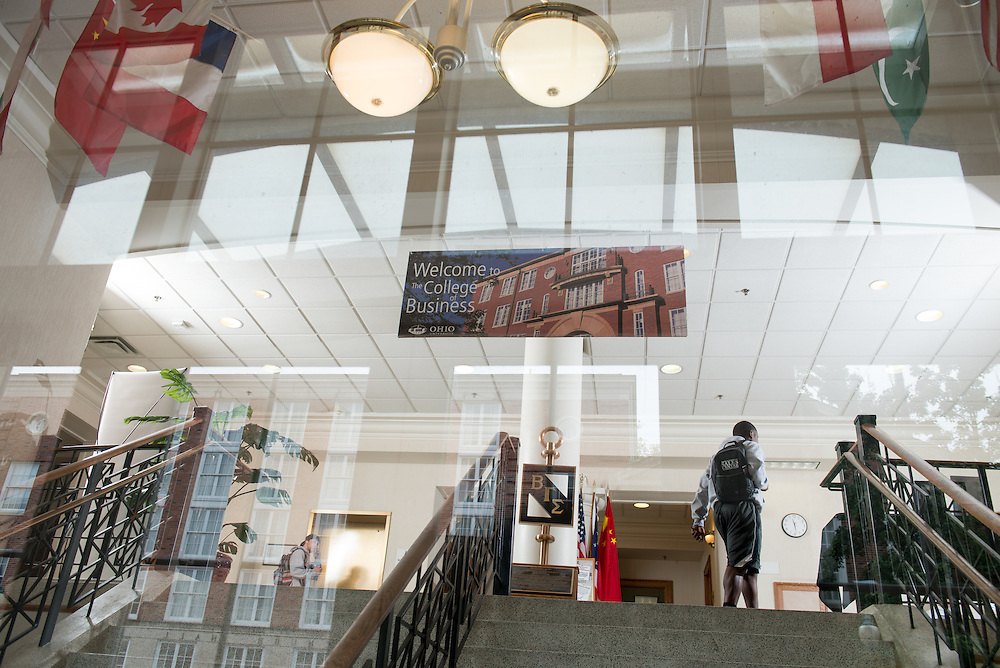 College of Business' Copeland Hall lobby during class change. Photo by Ben Siegel