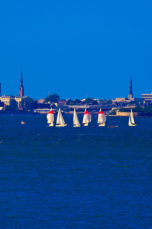 Sailboats in Charleston harbor, with the city of Charleston, South Carolina in the background