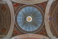 Details of the tromp d'oeil ceiling and faux dome at St. Stephen's Cathedral in Lugano, Ticino, Switzerland.