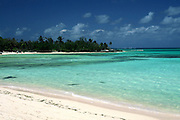 varied shades of aqua water; curved white sand beach; tropical; serene; peaceful, Gilliam Bay; Green Turtle Cay; Islands of the Bahamas; spring