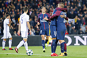 MARCO VERRATTI (PSG) scored a goal and celebrated it in arms of Neymar da Silva Santos Junior - Neymar Jr (PSG), Edinson Roberto Paulo Cavani Gomez (psg) (El Matador) (El Botija) (Florestan) is arriving, Uro¨s Spajic (RSC Anderlecht) during the UEFA Champions League, Group B, football match between Paris Saint-Germain and RSC Anderlecht on October 31, 2017 at Parc des Princes stadium in Paris, France - Photo Stephane Allaman / ProSportsImages / DPPI