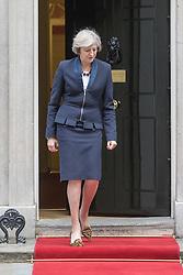 Downing Street, London, October 11th 2016. British Prime Minister Theresa May welcomes Croatian President Kolinda Grabar-Kitarović to her official residence.