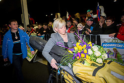 Father Dare Prevc and girlfriend Mina Lavtizar of Peter Prevc, Silver and bronze medalist in ski jumping  at reception of Slovenia team arrived from Winter Olympic Games Sochi 2014 on February 19, 2014 at Airport Joze Pucnik, Brnik, Slovenia. Photo by Vid Ponikvar / Sportida