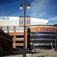 A view of Ford Field near Comerica Park in downtown Detroit, Michigan.