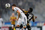 STOCKHOLM, SWEDEN - MARCH 12: Jacob Une Larsson of Djurgardens IF and Alhassan Kamara of BK Hacken  during the Swedish Cup Quarterfinal between Djurgardens IF and BK Hacken at Tele2 Arena on March 12, 2018 in Stockholm, Sweden. Photo by Nils Petter Nilsson/Ombrello<br /> ***BETALBILD***