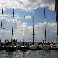 Sailboats docked on the Detroit River in Detroit, Michigan on August 7, 2010. Melanie Maxwell