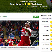 Bolton 0 Middlesbrough 3, BBC website.