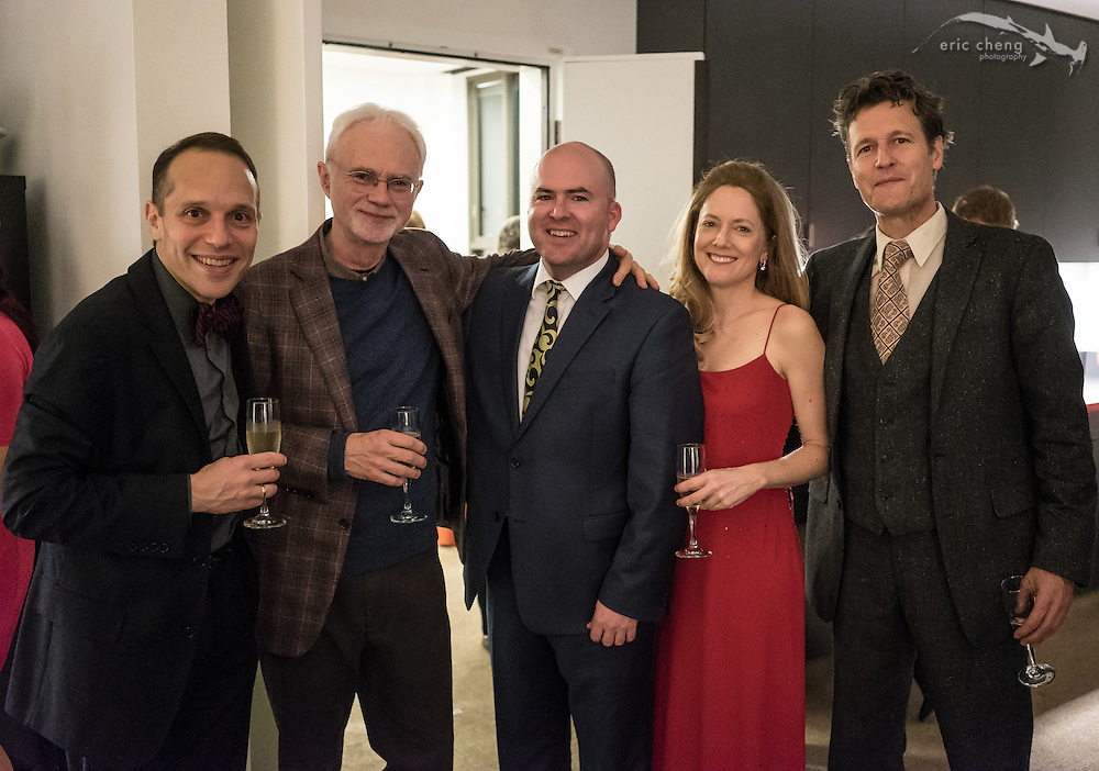 St. Lawrence String Quartet performs the world premiere of John Adams' Second Quartet at Bing Concert Hall on Stanford Campus. Backstage at Bing, January 18, 2015. Christopher Costanza, John Adams, Mark Fewer, Lesley Robertson, Geoff Nuttall.