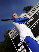 New York Mets pitcher Zack Wheeler, standing near the scoreboard he donated to the East Paulding County High School baseball team in Powder Springs, Ga., Monday, Jan. 21, 2013, says he is looking forward to joining the team for spring training.   (David Tulis)