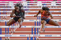 July 20, 2018 - Monaco - DAWN HARPER NELSON (USA) takes on YANIQUE THOMPSON during 100 metres female race duringMeeting Herculis In Monaco. (Credit Image: © Panoramic via ZUMA Press)