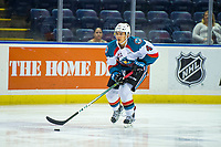 KELOWNA, CANADA - AUGUST 31: Devin Steffler #4 of the Kelowna Rockets skates with the puck against the Victoria Royals  on August 31, 2018 at Prospera Place in Kelowna, British Columbia, Canada.  (Photo by Marissa Baecker/Shoot the Breeze)  *** Local Caption ***
