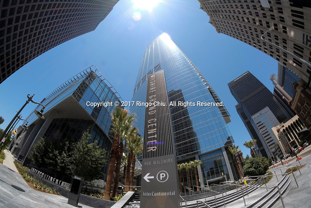 The new Wilshire Grand Center is photographed on June 25, 2017, in downtown Los Angeles. The 73-story, 1,100-foot-high (335.3 meters) structure is the tallest building west of the Mississippi. (Photo by Ringo Chiu)<br /> <br /> Usage Notes: This content is intended for editorial use only. For other uses, additional clearances may be required.